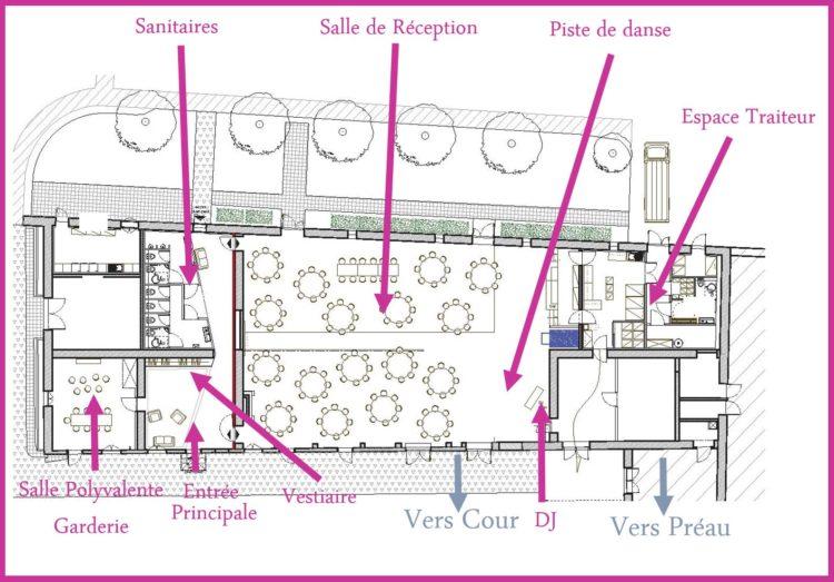 Plan de masse de l'espace de mariage au Château de Seguin